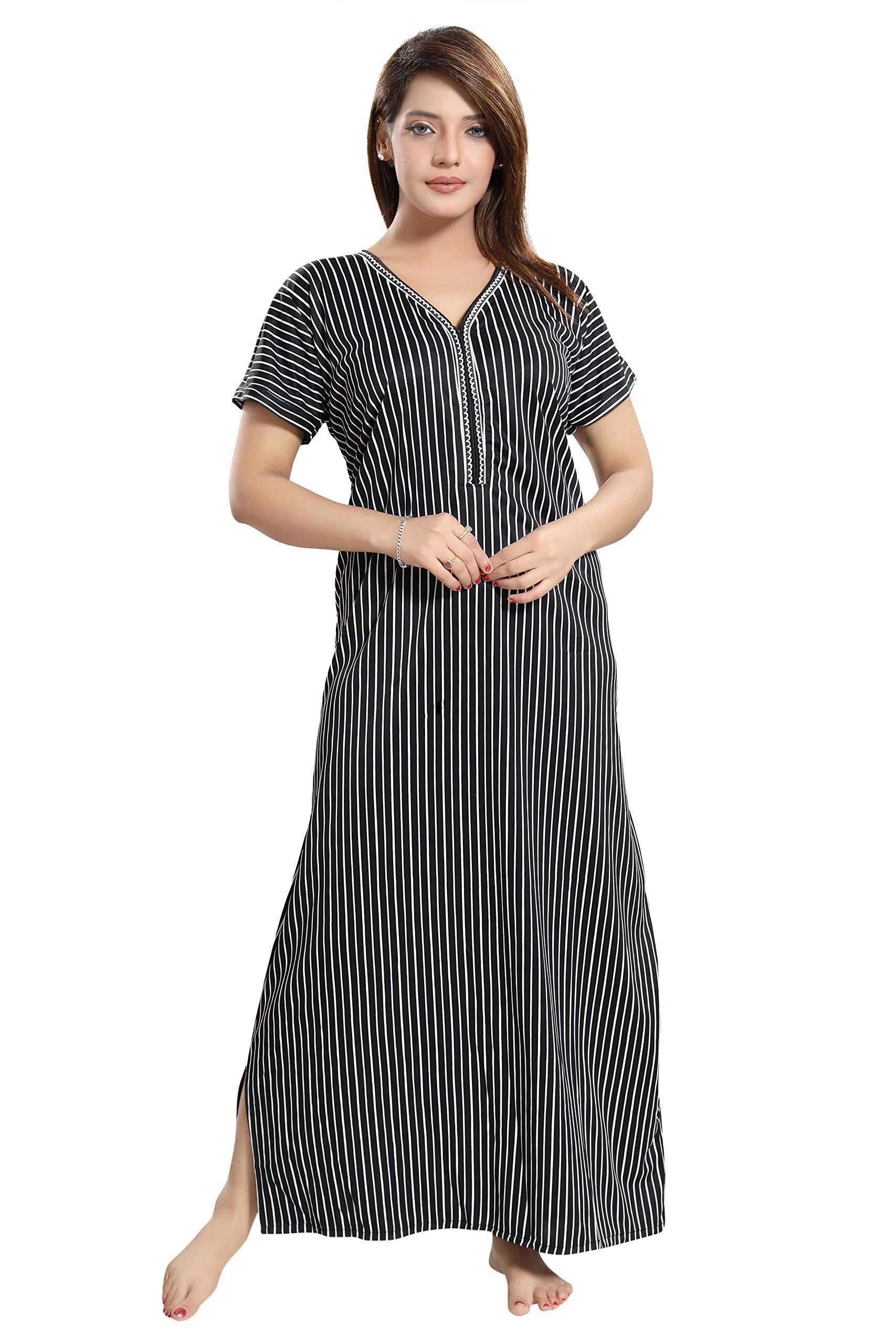 d1264a56a63 TUCUTE Women s Line Print Border Nighty Night Gown Nightwear   Nightdress Sleepwear  ...