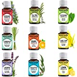 WishCare® Essential Oil 9 In One Pack  Undiluted & Natural   Lemon Grass, Lemon, Lavender, Orange, Tea Tree, Peppermint, Euca