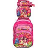 Beauty girt school trolley bag with lunch box and pencil box 3 in 1