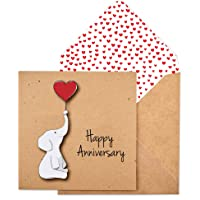 Happy Anniversary Elephant Handmade Greeting Card TC005