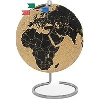FeinKnick drehbarer Korkglobus mit 54 unterschiedlichen Pinnadeln - Globus aus Kork 25cm hoch - stilvolle Weltkugel als…