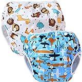 Teamoy 2pcs Baby Nappy riutilizzabile pannolino da nuoto, Aircraft+ Fat Smile