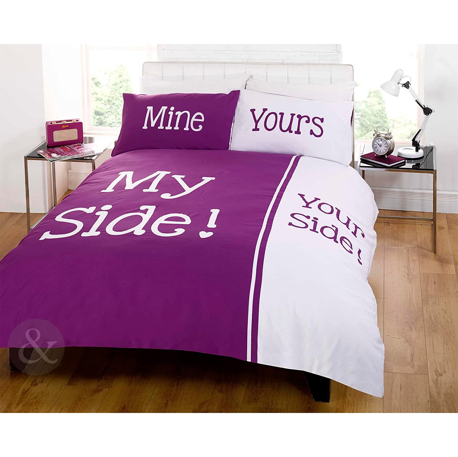 contemporary duvet cover  my side your side white damson purple  - contemporary duvet cover  my side your side white damson purple beddingbed set damson ( purple white ) king size duvet cover ( kingsize )amazoncouk