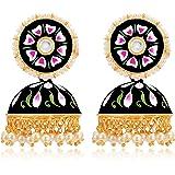 Peora Gold Plated Meenakari Enamel Jhumki Earrings for Women