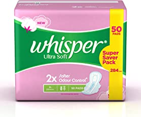 Whisper Ultra Soft Sanitary Pads XL (50 Count)