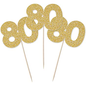 JANOU Number 80 Gold Glitter Cake Topper Cupcake Picks Cake Decoration 80th Birthday Anniversary Wedding Party Suppliers Pack 12pcs