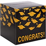 """Hallmark 8"""" Graduation Card Box (Gold and Black,""""Congrats!"""") Foldable Cardboard Box for Grad Parties and Open Houses"""