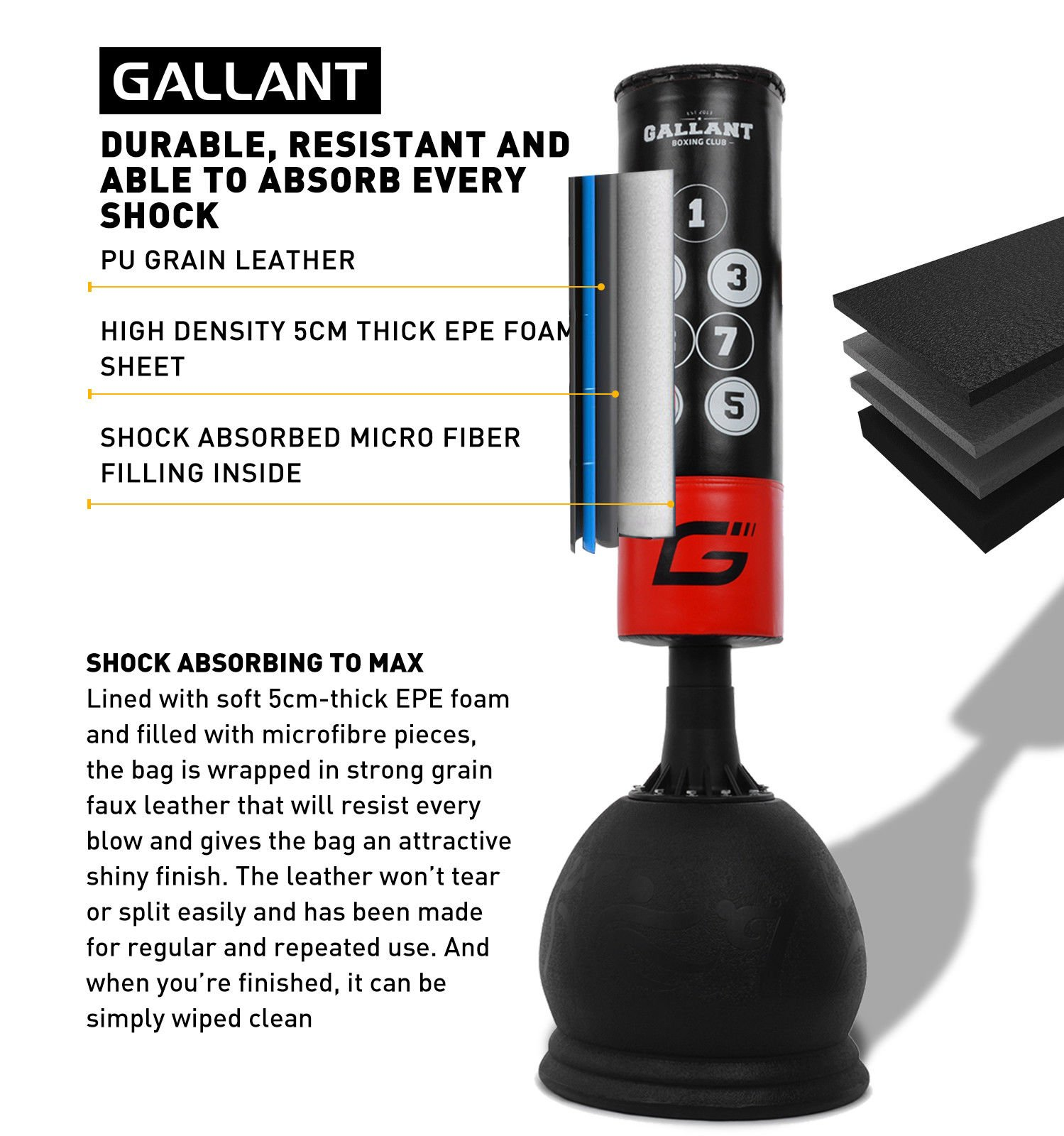 Gallant 5ft Free Standing Boxing Target Punch Bag Heavy