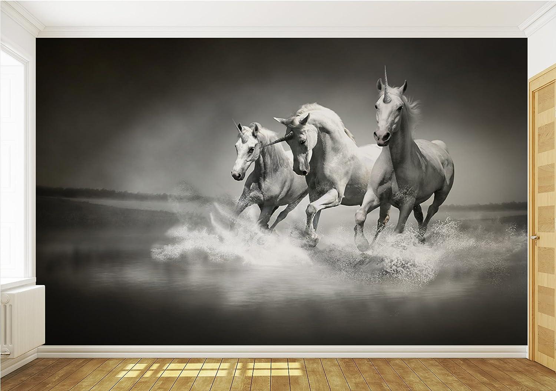 Galloping Unicorns Black And White Wallpaper Mural Amazon Co Uk  # Support Dvd Mural