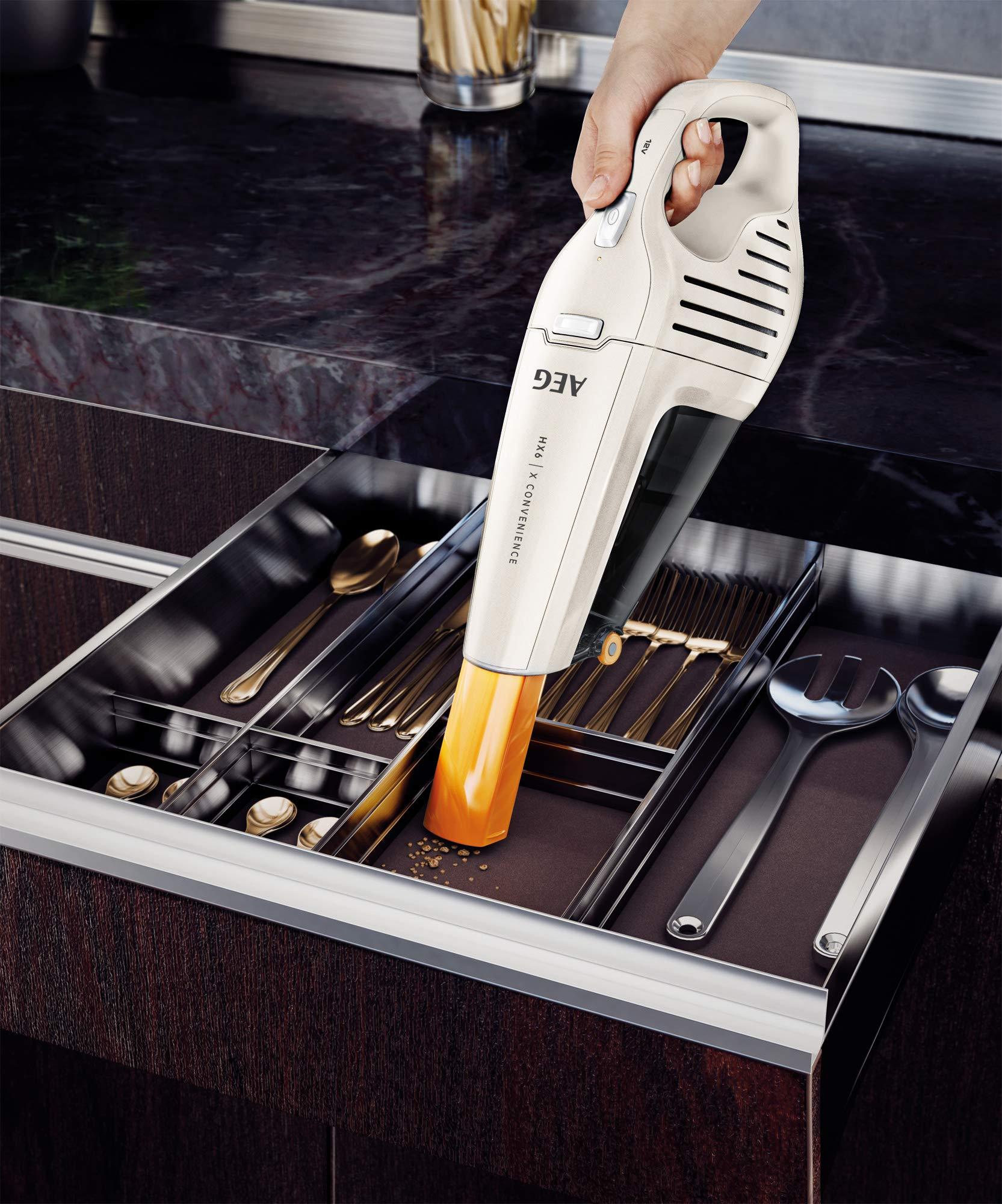 AEG HX6 Handstaubsauger mit lang haltendem Akku, Energieeffizienzklasse A 7,2 V Ni-MH weiß