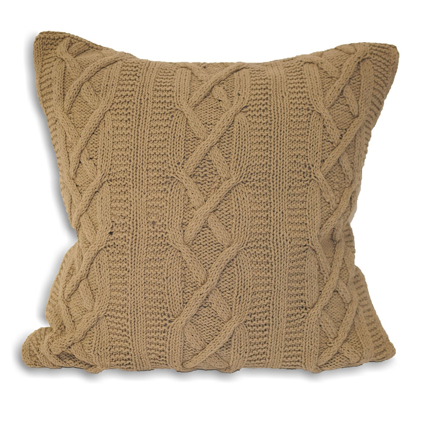 Aran Knitted Cushion Cover Mushroom 55 x 55 Cm Amazon