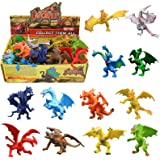 ValeforToy ABS Vinyl Plastic Mini Dragon Figurine Set with Gift Box (Assorted, 4-inch) - Pack of 12 Pieces