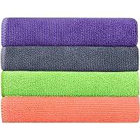 Bathla Spic & Span Multi Purpose Micro Fiber Cleaning Cloth - 340 GSM: 40cmx40cm (Pack of 4) (Multi Colour)