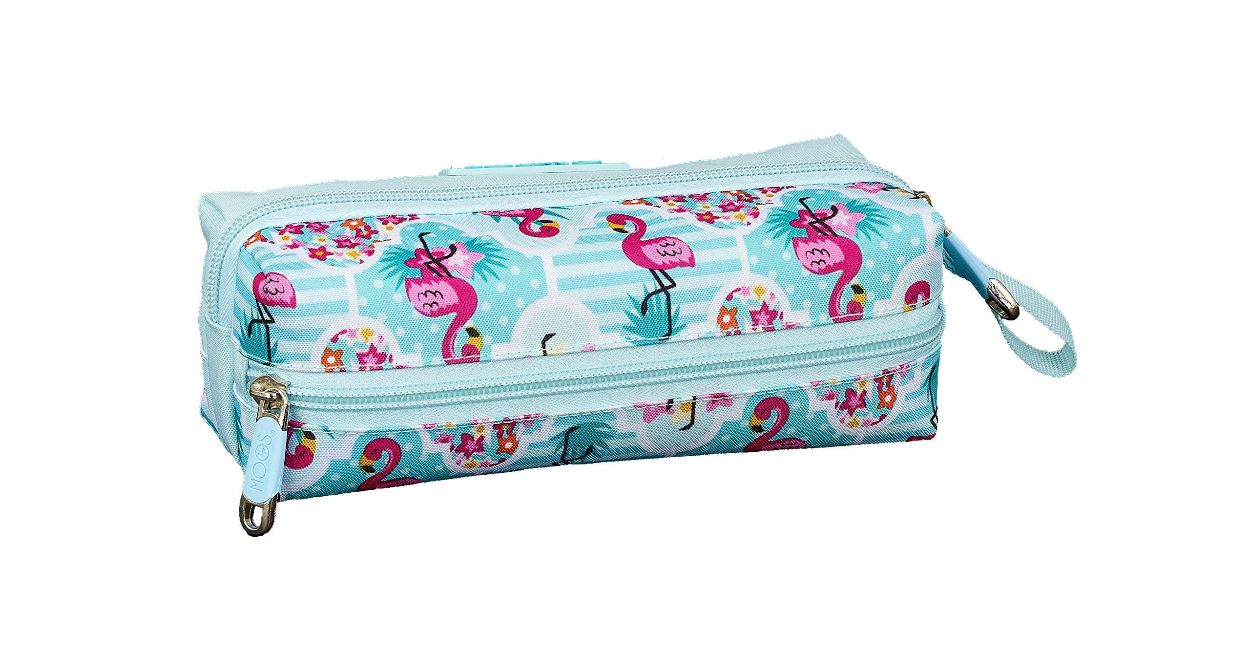 Moos  Flamingo Turquoise Oficial Estuche Escolar 200x80x70mm