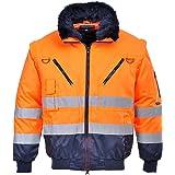 Portwest PJ50ONRXL Series PJ50 Hi-Vis 3-in-1 Pilot Jacket, Regular, Size: X-Large, Orange/Navy