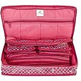 HomeStrap Cotton Multipurpose 8 Pocket Jewellery Storage Bag Pouch/Travel Kit Organizer - Pink