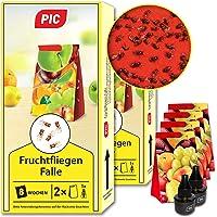 PIC - Fruchtfliegen-Falle, Obstfliegenfalle und Essigfliegenfalle - 2 Lockstoffbehälter mit 4 Leimfallen für extra Lange…