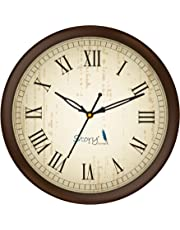 Story@Home 10-inchRound Shape Wall Clock with Glass for Home/Kitchen/Living Room/Bedroom/Office (Brown)