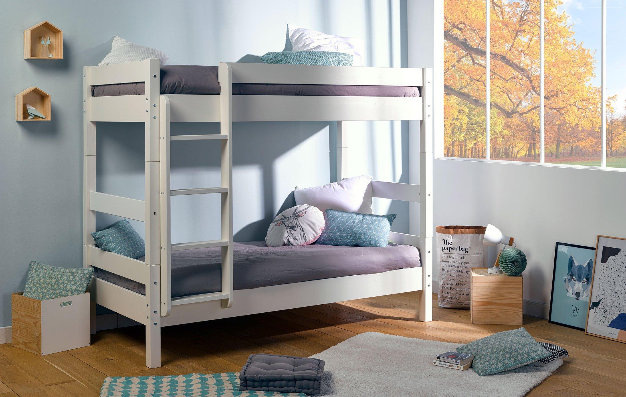idkid 39 s lit superpos 80x190 bois massif blanc inspid co. Black Bedroom Furniture Sets. Home Design Ideas