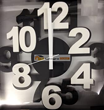 Large Number Modern Wall Clock Black Amazoncouk Kitchen Home