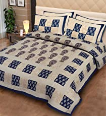 Fecom Super King Size Cotton Double Rajasthani Jaipuri Traditional Sanganeri Design Bedsheet with Pillow Covers, 100x102 Inches (Blue, SMIB-258)
