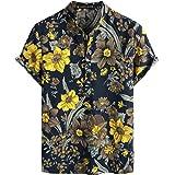PARKLEES Mens Cotton Linen Floral Print Hawaiian Shirts Casual Short Sleeve Grandad Collar Shirt