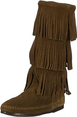 Minnetonka, Stivali Modello Mocassino, a Gamba Alta, con Tre Strati di Frange Donna