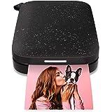 """HP Sprocket Imprimante photo portable (Noir) Imprime instantanément des photos autocollantes ZINK 2x3 """"à partir de votre appa"""