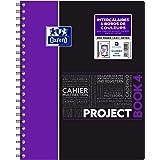 Oxford ProjectBook Cahier à Spirales Format A4+ 200 Pages Grands Carreaux Seyès Couverture Polypro Couleur Aléatoire