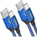 NIBIKIA USB C -kabel, [2 delar 2m] 3A laddningskabel USB C nylon snabbladdning och synkroniseringskabel USB C för Samsung S10