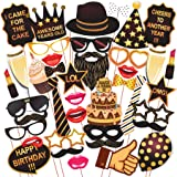 WOBBOX Birthday Party Props with Various Colours of Mustache, Glasses Frames, Lips, Crown, Pipe, Eyes, Hat and Hap, (40 Piece