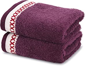 Maspar Carnival Prime 2 Piece 550 GSM Cotton Hand Towel Set - Purple