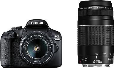 Canon EOS 2000D Spiegelreflexkamera mit dem Objektiv EF-S 18-55 IS II + 75-300 DC Kit