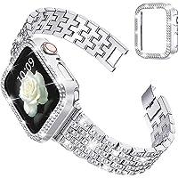 wlooo Glitter Cinturino per Apple Watch 44mm 42mm 40mm 38mm, Bling Watchband Uomo Donna Cristallo Gioielli Metallo…