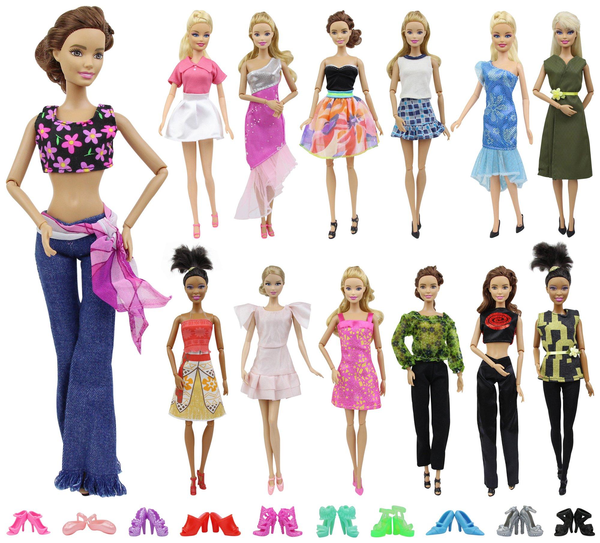 ZITA ELEMENT 20 Pezzi   10 Vestiti Abiti e 10 Scarpe per Barbie Bambola ... 6fde0e2929a