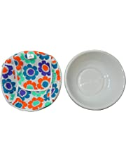 SHOPATHON INDIA Roti Chapati Plastic Basket with Printed Removable Washable Chain Cotton Cover (Assorted Colours)
