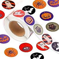 Qpout 500 pcs Halloween Autocollants pour Enfants, 1 Rouleau Halloween Bonbons Sacs Autocollant D'étanchéité, Citrouille…