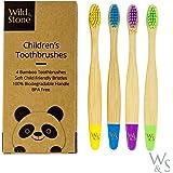 Wild & Stone | Spazzolino da denti per bambini in bambù organico | Quattro colori | Setole in fibra morbida | Maniglia biodeg