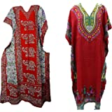 Women's Indian Long Viscose Kaftan with Animal Print and Dori at Waist (Red;Free Size) - Pack of 2