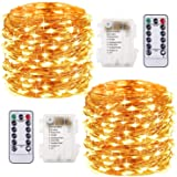 2 Pezzi Stringa Luci LED - 10M/33FT Catene Luminose 100LED Luci Natalizie Batteria Impermeabile IP65, Esterno/Interni Lucine