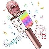 Microphone karaoké Sans Fil, Karaoke Micro Bluetooth Avec LED, Portable Micro Sans Fil Haut-parleur Enregistreur Compatible a