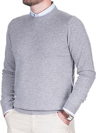 Cashmere Zone Maglione Uomo Puro Cashmere 100% Made in Italy Lana Pullover a Manica Lunga con Girocollo Soffice e Morbido