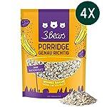 3Bears Porridge Mohnige Banane - 4er Paket Viel Frucht Ohne Zuckerzusatz Overnight Oats Haferflocken Frühstück 100...
