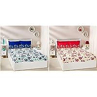 Amazon Brand - Solimo Jasmine Zest 144 TC 100% Cotton Double Bedsheet with 2 Pillow Covers, Blue + Jasmine Zest 144 TC 100% Cotton Double Bedsheet with 2 Pillow Covers, Red Combo