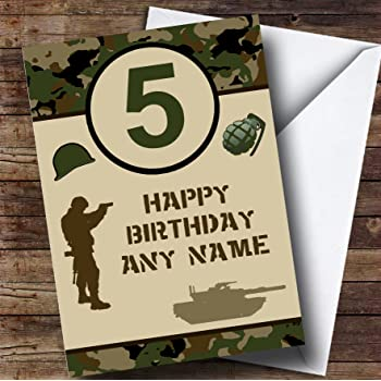 Army Camouflage Personalised Birthday Card Amazon Co Uk Office