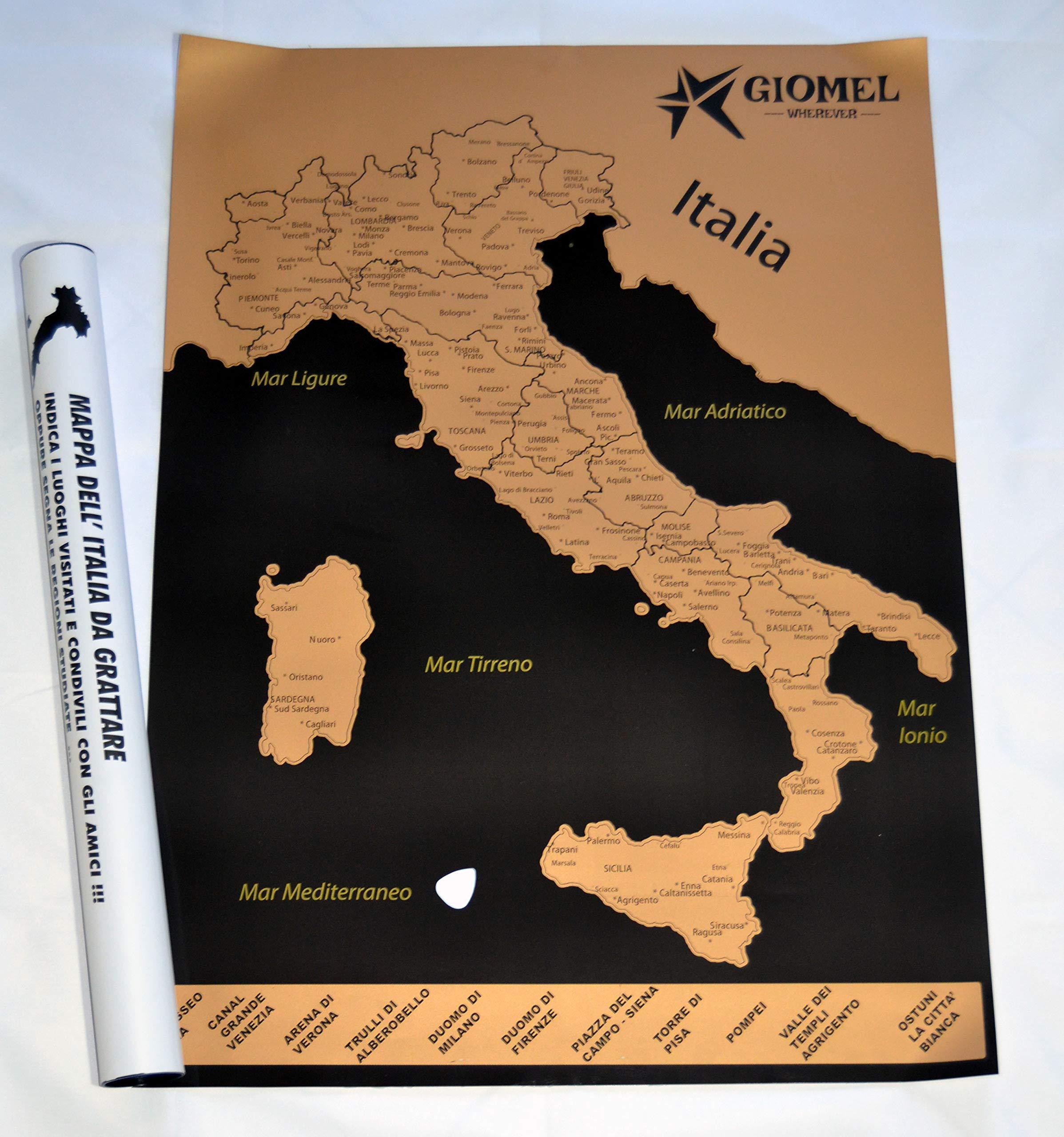 Cartina Italiana Dettagliata.Mappa Italia Da Grattare Regalo Viaggiatori E Camperisti Diario Di Viaggio Camper Cartina Studenti Scratchable Faceshopping