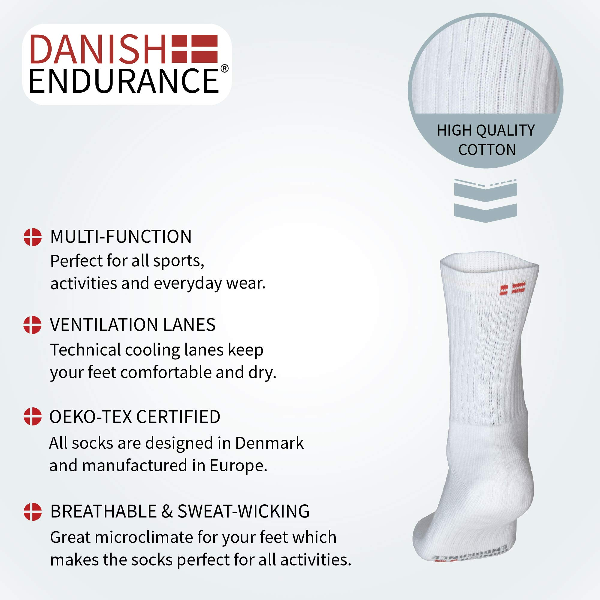 db12827c977a3f DANISH ENDURANCE Calzini Tennis Performance Crew, Controllo del Sudore,  Morbida Soletta Rinforzata, Multi-Pack, Uomo e Donna, Traspiranti, Primavera