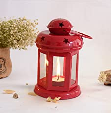 Tied Ribbons Home Decor Hangings Lantern Antique with Tealight Candle (Red)