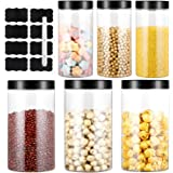 4.5L Bocaux en Plastique 6 Pcs, Bocal de Stockage, Bocal Plastique Transparent Pots de Stockage Récipient de Stockage de Grai