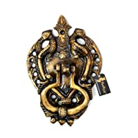 Two Moustaches Twin Peacock Design Brass Door Knocker (Standard Size, Royal Brown)